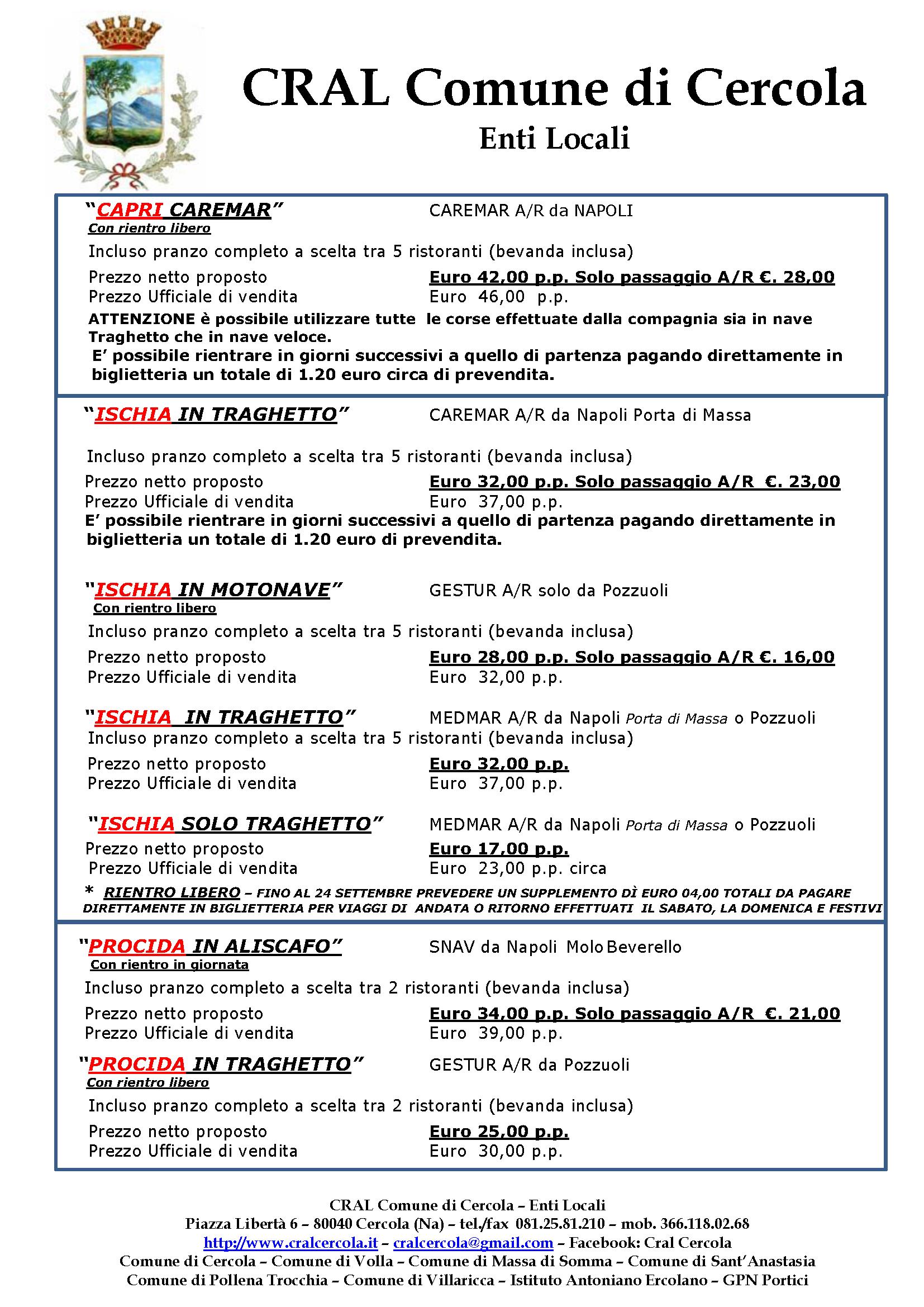 Biglietti Isole Napoli CRAL